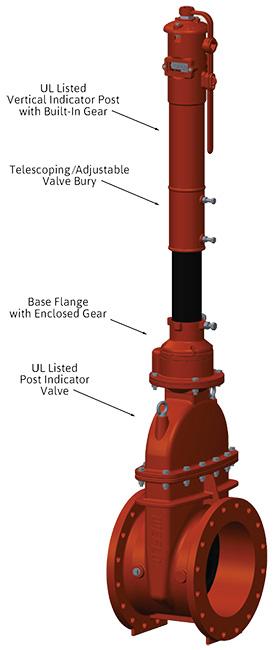 Large Diameter 14 24 Post Indicator Valve Assembly